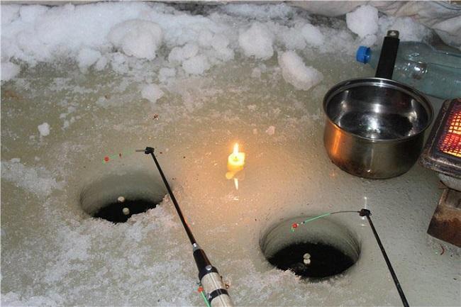 Ловля леща зимой ночью